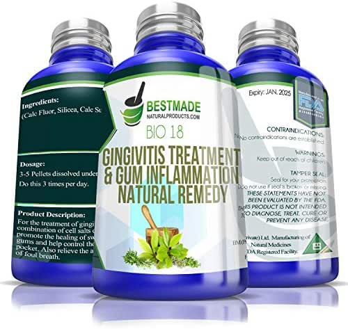 Gingivitis Treatment & Gum Inflammation Natural Remedy Bio18, 300 pellets, Cell Salt Combination to Improve Oral Health, Advanced Defense for Periodontal Disease, Use for Swollen Gums and Bad Breath