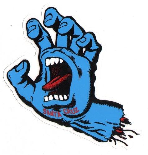 Santa Cruz Screaming Hand Skateboard Sticker in Blue - Jim Phillips Design 15cm NEW (Stickers Santa Cruz)