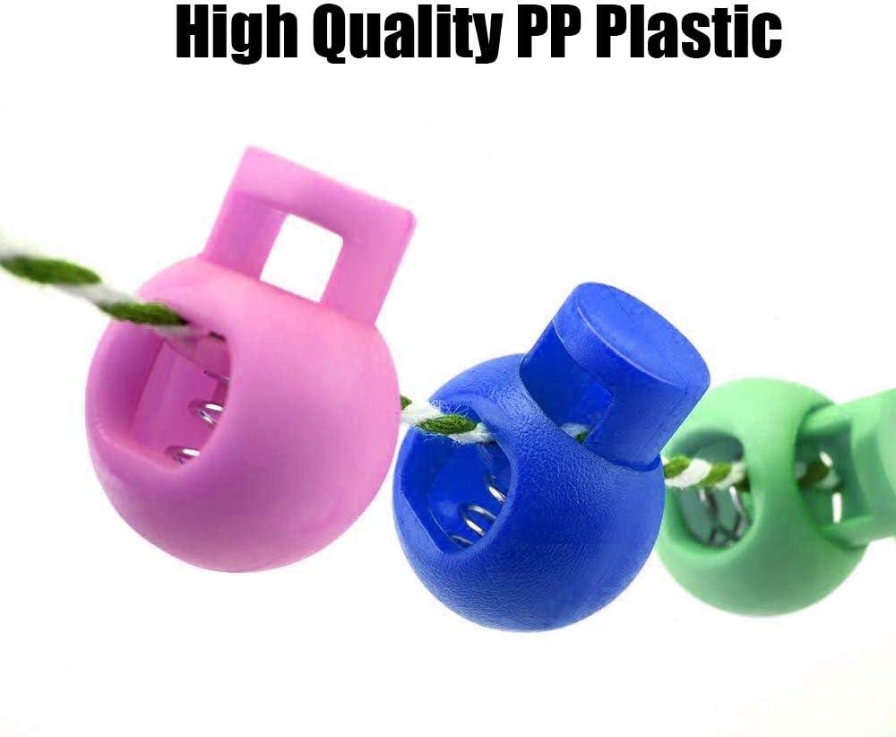 multicolore zaini Confezione da 100 fermacavi a molla in plastica con foro singolo per coulisse escursionismo regolatore rotondo antiscivolo per campeggio sport