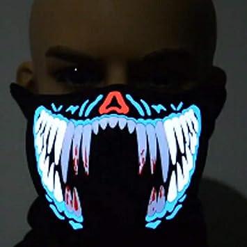 Mascara Halloween LED, Zolimx Luz Fría Máscara Terror Música Control Sonido Luz Fría Luminosa Máscara Luminosa