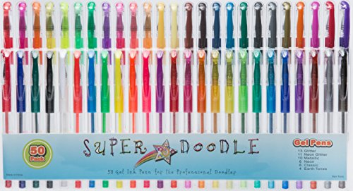 Super Doodle Gel Pens, 50 Pack (Brown Earth Tones, Glitter, Metallic, Neon, and Classic Colors)