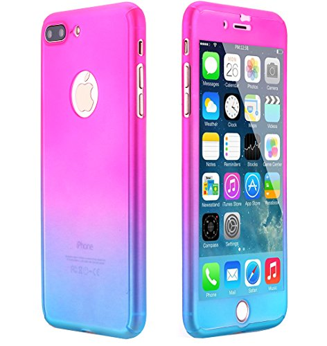 Ai-case C-137 Ultra Thin Full Body Coverage Protection Soft PC, Dual Layer, Slim Fit Case with Tempered Glass Screen Protector for iPhone 7 Plus - Pink/Blue