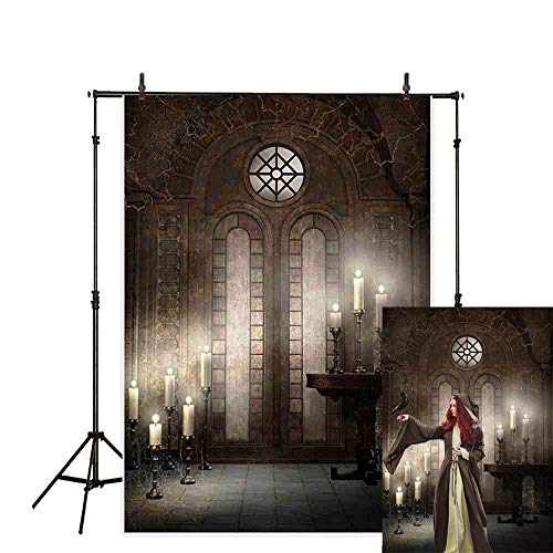 Allenjoy 5x7ft Halloween Photography Backdrop Church Candle Brick Wall Spider Web Classical Window Horror Night Background Decoration Photo Studio Props -