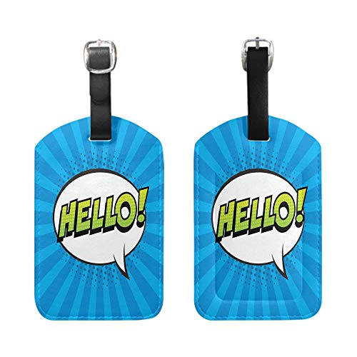(Stylish Patterned Private Luggage Tag, leather name ID tag with privacy cover, bescribe - Retro comic speech bubble with colorful halftone shadow on blue stripes pattern Expression-2-Piece)