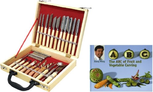 WIN-WARE Culinary Carving tool Set 22 Piece. Fruit/Vegetable Garnishing/Cutting/Slicing Set. With Fruit and Vegetable Carving Instruction Book