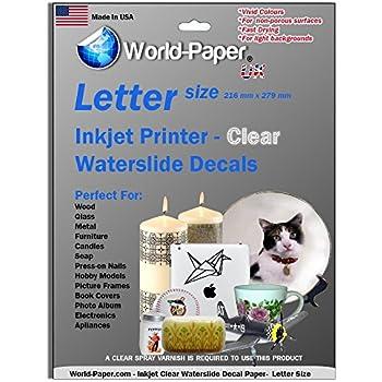 """Waterslide Decal Paper Inkjet Clear 8.5"""" x 11"""" 5 Sheets"""