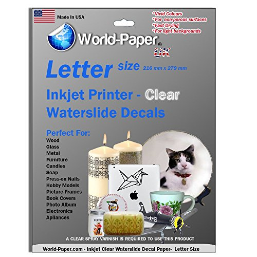 Waterslide Decal Paper Inkjet Clear 8.5