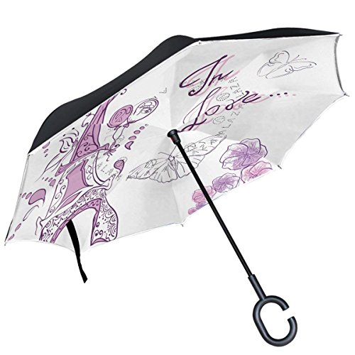 All Agree French Eiffel Tower Paris Love Floral Butterfly Inverted Umbrella Double Layer Windproof Reverse Folding Umbrella For Car With C Shape Handle