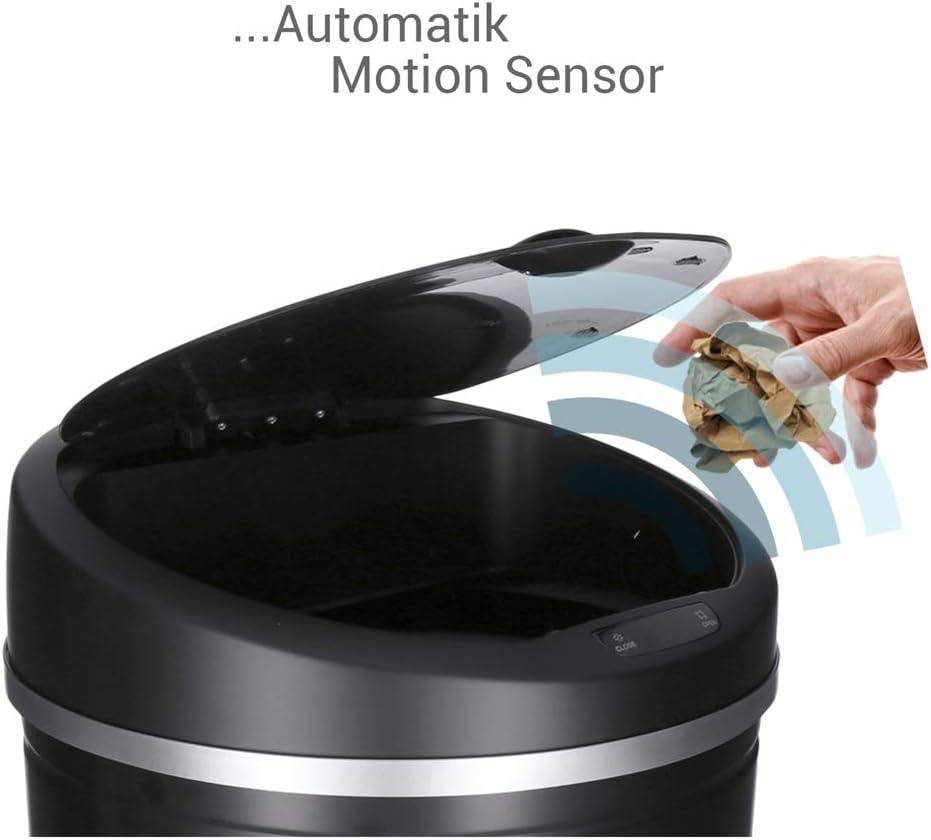 Schwarz, 30 Liter GEORGES Sensor Abfalleimer 30L 40L 50L Edelstahl lackiert