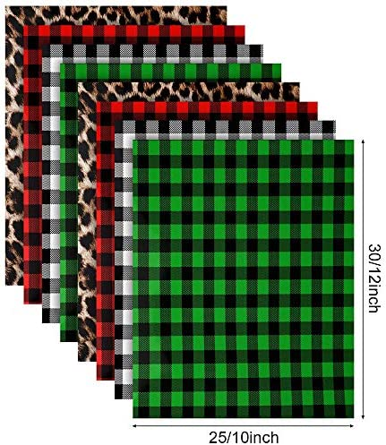 Christmas Buffalo Plaid Iron-on Vinyl HTV Assorted Leopard Pattern Check Heat Transfer Vinyl Heat Transfer Vinyl for T-Shirts Fabric Craft, 12 x 10 Inch-8 Sheets