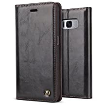 Galaxy S8 Plus Case,BELK Vintage Protective Glossy PU Leather Walllet Case Embedded Magnetic Closure[1 Card Slot]&[Kickstand],PC Bumper Cover Shell for Samsung Galaxy S8 Plus(6.2 Inch),Black