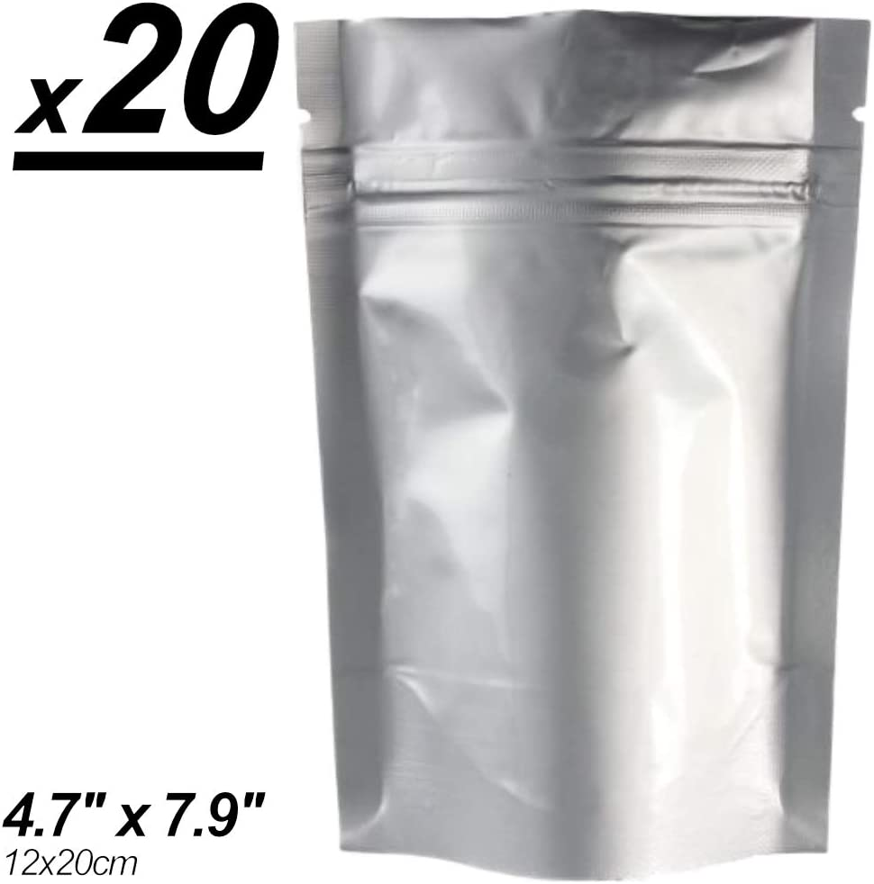 x20 Smell & X-Ray Proof Mylar Bags, Long Term Food Storage, Vacuum Sealable Ziplock Bags (12x20cm + 4cm) (4.72x7.87in + 1.6in). by MZ Basics