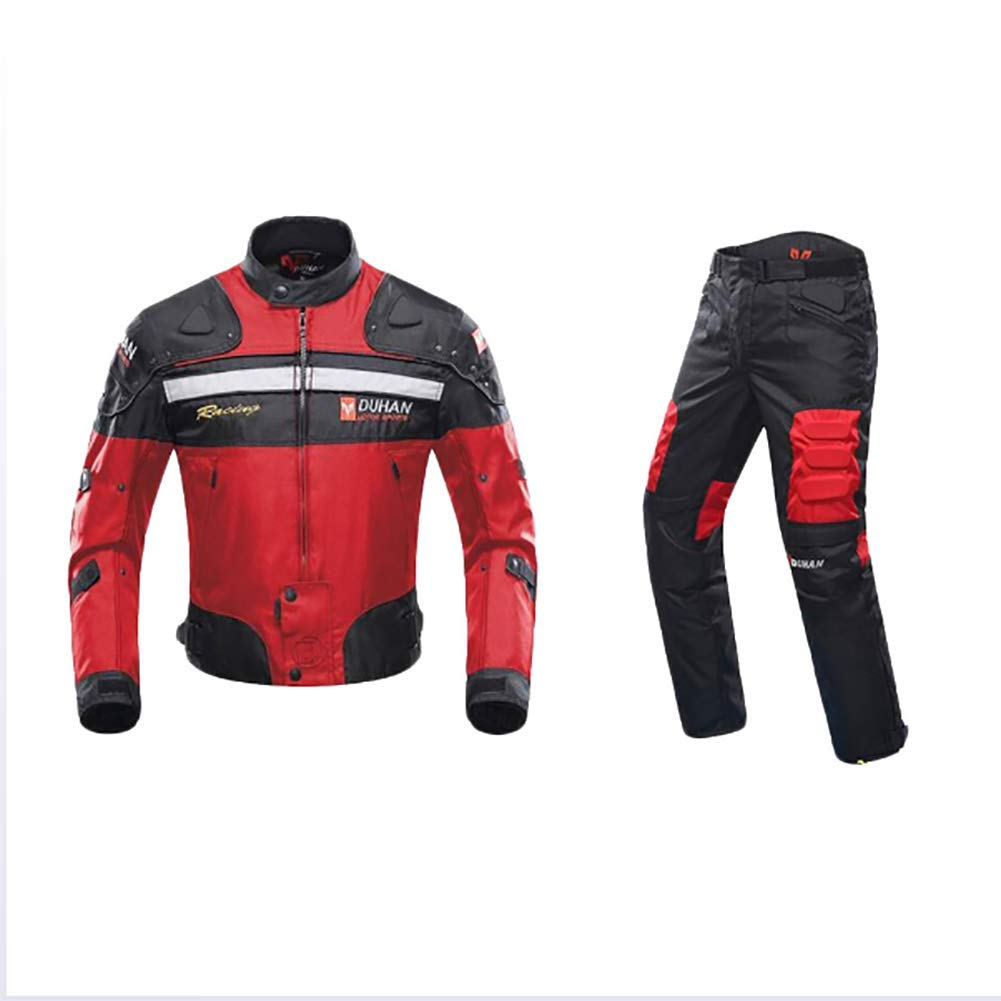 HXA Men's Fashion Motorbike Two Pieces Suit with Armor Protection,Red,M