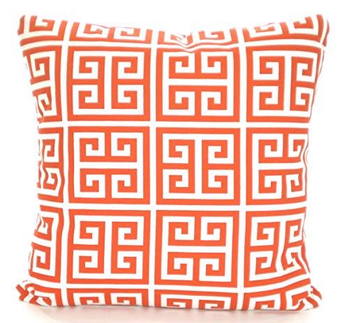 OUTDOOR Orange Pillow Covers Throw Pillows Cushions, Orange White Greek Key Towers Beach Decor Patio Pillows Sun Room Various Sizes