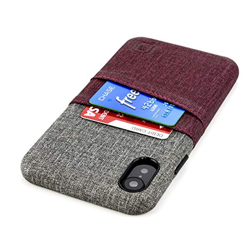 Dockem Luxe M2 Wallet Case for iPhone XR: Built-in Invisible Metal Plate, Designed for Magnetic Mounting: Slim Canvas Style Synthetic Leather Card Case: M-Series [Maroon and Grey]