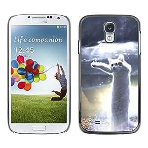 For SAMSUNG Galaxy S4 IV / i9500 / i9515 / i9505G / SGH-i337,S-type® Dancing Cat White Hero Meme Web - Arte & diseño plástico duro Fundas Cover Cubre Hard Case Cover
