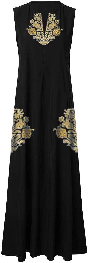 RAINED-Women Plus Size Maxi Dress Vintage Casual Loose Sleeveless V Neck Embroidery Tank Dress Baggy Kaftan Long Dress