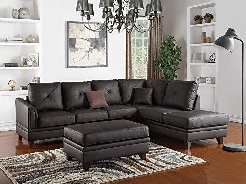 Poundex Crocifissa Brown Top Grain Leather Sectional Sofa