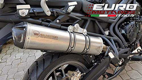 Triumph Tiger 800 2011-2017 Silmotor Exhaust Slipon Oval Titanium Carbon Cap New ()