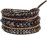 Plumiss Boho Handmade Leather Stone Bead Bracelet Collection