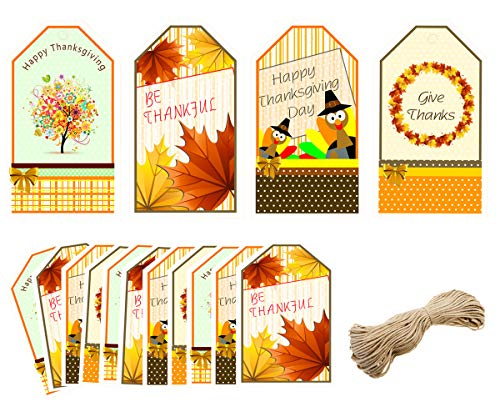 40pcs Happy Thanksgiving Gift Tags - Party Decoration Craft Hang Paper Tags for Thanksgiving Day Fall Season Holiday Thank You Greeting Gift Wrap Label Decoration Gift Package, 16ft Kraft Twines