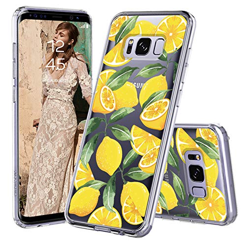 MOSNOVO Galaxy S8 Case, Lemon Fruit Pattern Clear Design Printed Transparent Plastic Back Hard Case with TPU Bumper Protective Case Cover for Samsung Galaxy S8 ()