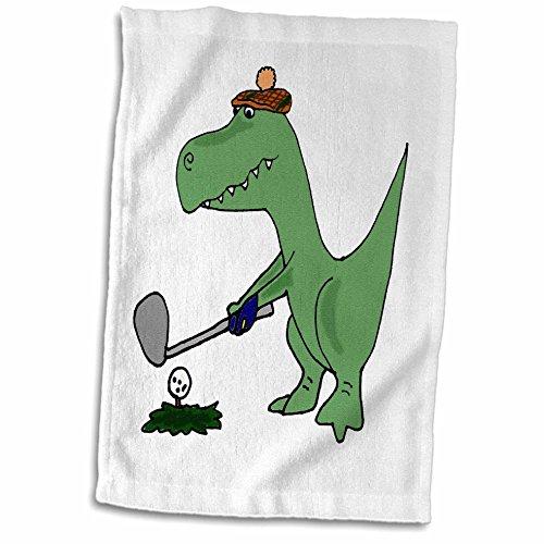 (3D Rose Funny Green Trex Dinosaur Playing Golf TWL_203784_1 Towel, 15