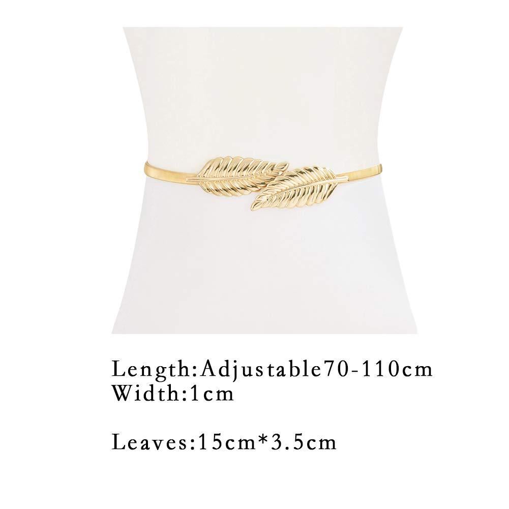 Zonfer Damas Metal El/ástica Cadena De La Cintura Cadena De La Cintura De Las Mujeres El/ásticos Hojas Cinturones Con Estilo Para El Vestido
