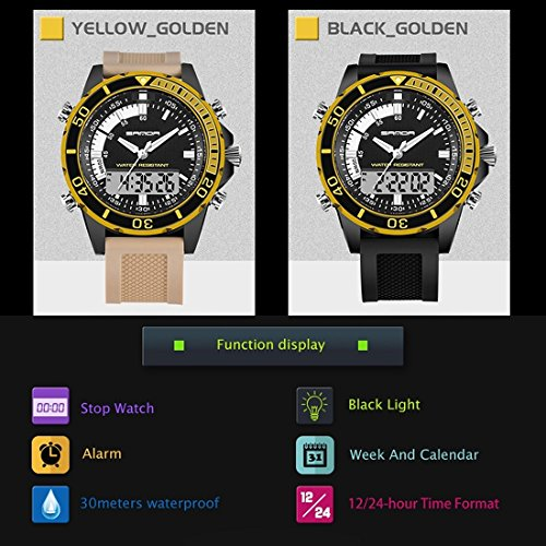 5296 LED Night Light Display & Stopwatch & Alarm & Date And Week Function Men Quartz + Digital Dual Movement Watch With Silicone Band (SKU : Wa0109gb) by Dig dog bone (Image #4)