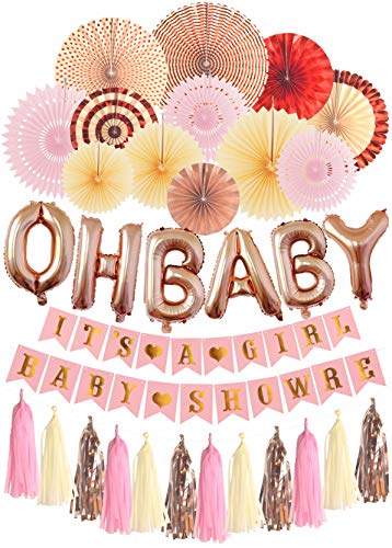 OH Baby It's a Girl Decorations for Baby Shower Pink | Mint Gold Glitter Peach Cream Paper Fans for Baby Shower Party | Pink and Gold Baby Shower Decorations for Girl |Its A Girl Party Decor | Garland
