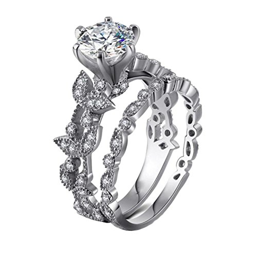 - Women Unique Leaf Design Cut Zircon Diamond Eternity Wedding Rings (7, Silver)