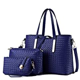 3PCS/SET Women PU Leather Satchel Handbag Shoulder Messenger Crossbody Bag Wallet (Blue)