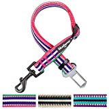 Blueberry Pet 3M Reflective Multi-colored Stripe Adjustable Dog Seat Belt Tether for Dogs Cats, Pink, Emerald and Orchid, Durable Safety Car Vehicle Seatbelts Leads Use with Harness