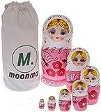 (US) Moonmo 7pcs Beautiful Handmade Wooden Russia Nesting Dolls Gift Russian Nesting Wishing Dolls Gold Hair Matryoshka Traditional.