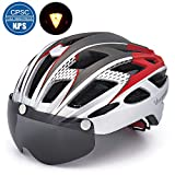 Victgoal Cycle Bike Helmet with Detachable Magnetic Goggles Visor Shield for Women Men, Cycling Mountain & Road Bicycle Helmets Adjustable Adult Safety Protection and Breathable (New Silver)