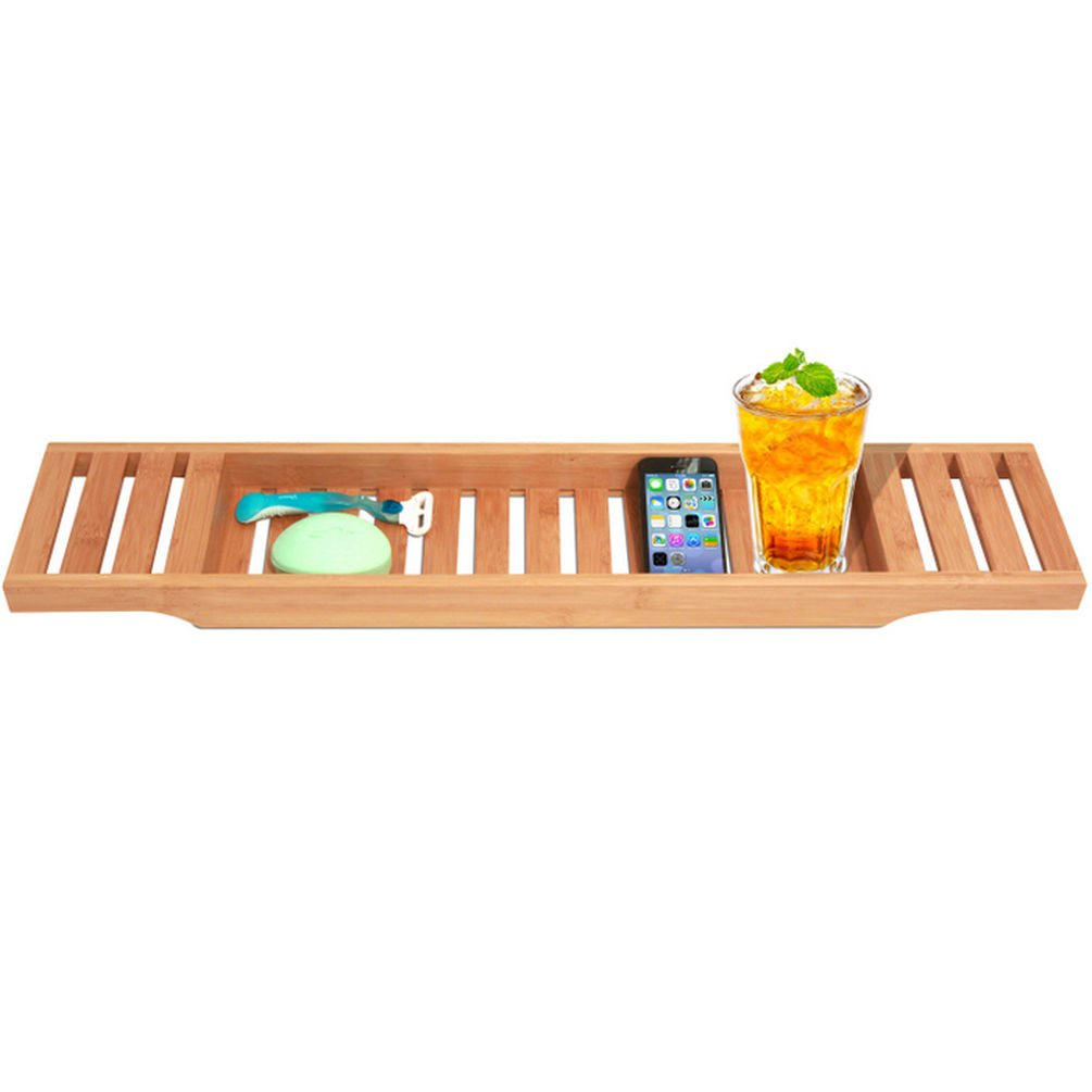 Bamboo Bathtub Caddy. Large Size Will Fit Most Tubs. ToiletTree Products TTP-BTC-3