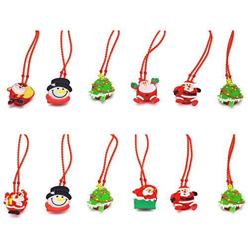 12 Pcs Christmas LED Light Up Santa Necklaces for Kids Party Favors, Christmas Stocking Stuffers Decorations Light up Toys Treat Bag Fillers Gift -