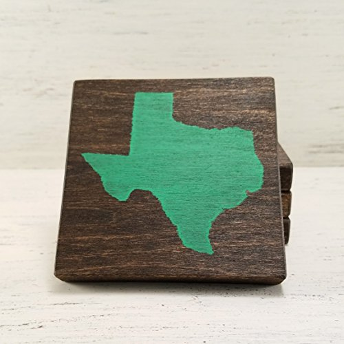 (Pick State and Color, Texas Wood Coasters, Set of 4, Wedding, Housewarming, Baylor)