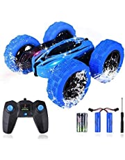 Kuman RC Stunt Car, Toys Remote Control Racing Car with Double Sided 360 Flips Control Tracks 4WD Off Road Truck for Kids and Adults GD828 Two USB Rechargeable Batteries for Car