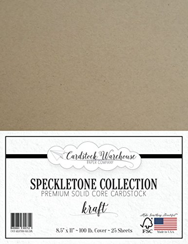 100 Cardstock Recycled - Kraft SPECKLETONE Recycled Cardstock Paper - 8.5 x 11 inch - Premium 100 LB. Cover - 25 Sheets