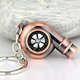 Maycom Creative Sleeve Spinning Turbo Turbine Turbocharger Keychain Key Chain Ring Keyring Keyfob Key Holder Make Real Whistle Sound (Copper)