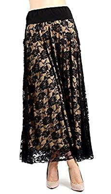 EVANESE Women's Fold Over Wide Waist Band Elastic Full Maxi Long Lace Skirt