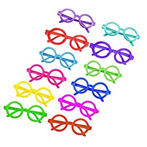 Childs Children Eyeglasses Frame Candy Colored Eyewear 12Pcs No Lenses Costume
