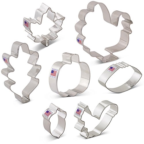 Fall Thanksgiving Cookie Cutter Set with Recipe Book - 7 Piece - Maple Leaf, Turkey, Oak Leaf, Pumpkin, Football, Acorn, Squirrel - Ann Clark - USA Made Steel for $<!--$10.99-->