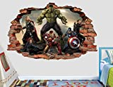 Avengers Thor Captain America Iron Man Hulk Black Widow 3D Sticker Wall Decal Smashed Vinyl Decor Mural Movie - Broken Wall - 3D Designs - AL70 (Giant (Wide 50'' x 46'' Height))
