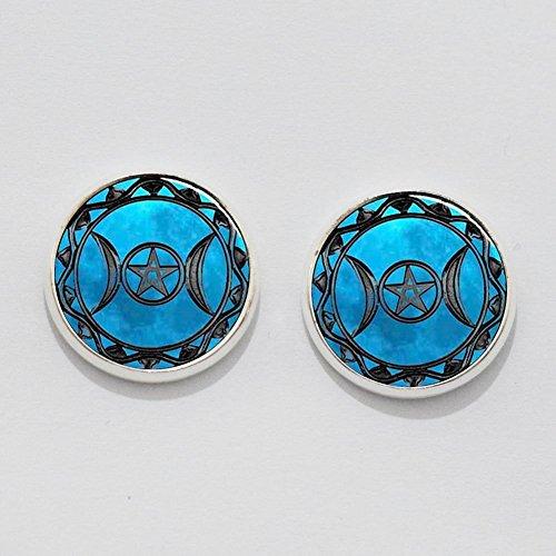 Triple Moon Goddess Earrings Ear Studs. Charm Earrings. Triple Moon Goddess Earrings. Glass Dome ()