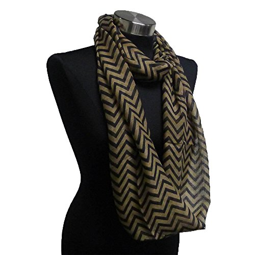 Adorox Soft Chevron Sheer Infinity Scarf in Contrasting Colors Winter Gift Warm Women's Neck Fashion Accessory (Brown/Black)