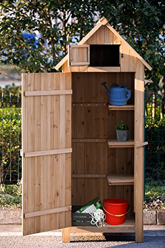 amazoncom merax wooden garden shed wooden lockers with fir wood natural wood color arrow shed garden outdoor - Garden Sheds Wooden