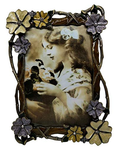 Floral Metal Rustic 4x6 Picture Frame Brown, Rhinestones Tabletop Standing Photo Frame Clear Acrylic Front, Display Horizontally Or -
