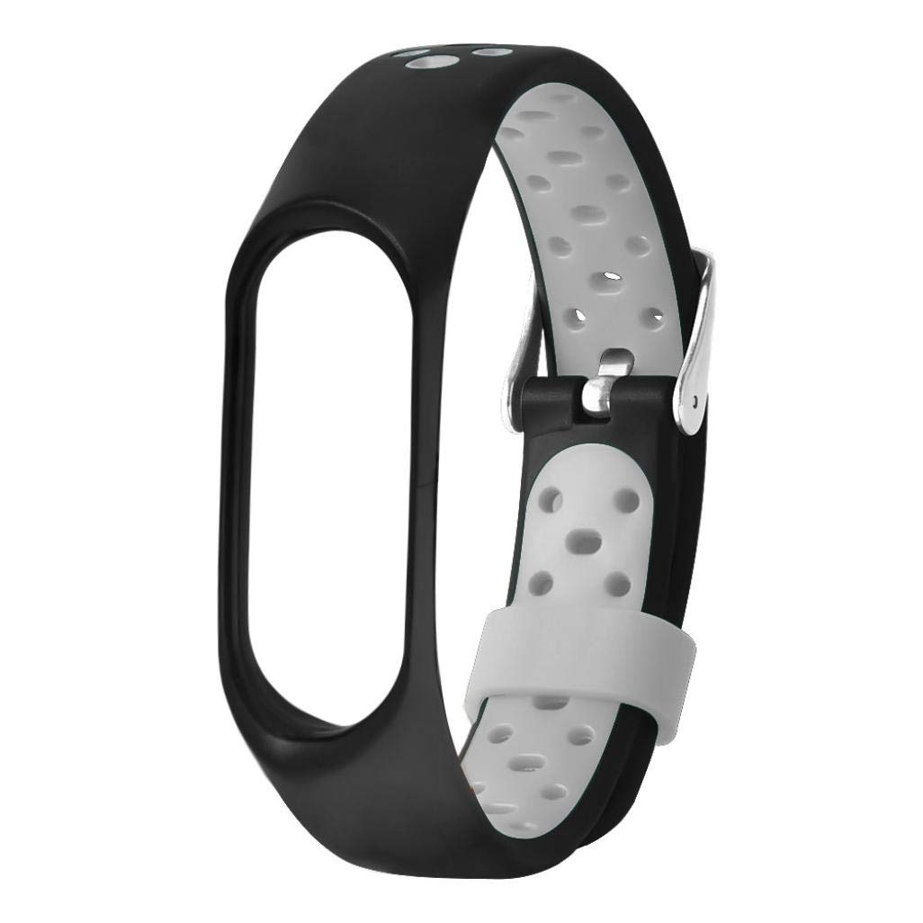 Wristband for Xiaomi Mi Band 3,Vanvler New Lightweight Silicone Replacement Ventilate Sport Soft Wrist Strap (Gray)